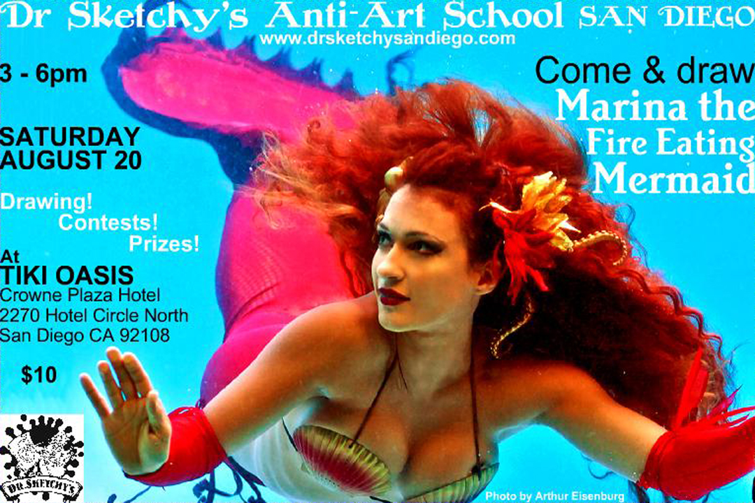 Marina the Fire Eating Mermaid poses for Dr Sketchy's San Diego on Sat Aug 20 at Tiki Oasis