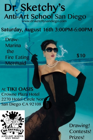 Marina the Fire Eating Mermaid poses for Dr Sketchy's San Diego August session at Tiki Oasis, Sat Aug 16, 2014