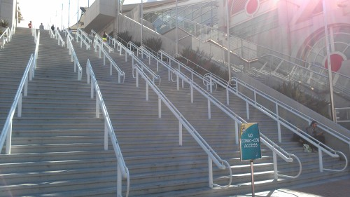 Convention Center steps - empty with sign