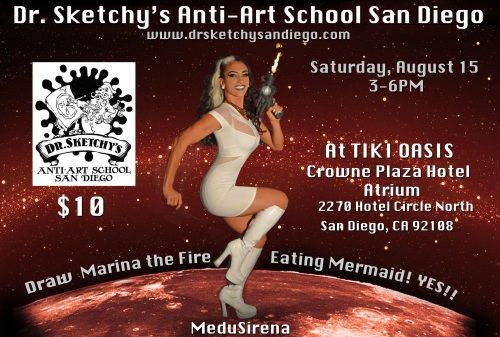 Marina the Fire Eating Mermaid poses for Dr Sketchy's San Diego August session at Tiki Oasis, Sat Aug 15, 2015 www.drsketchysandiego.com